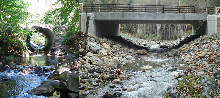 Before and after of Fort Goff project site, showing the original culvert on the left and the replacement bridge on the right