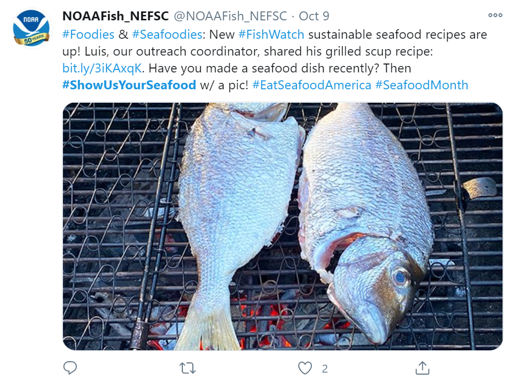 Twitter post from the Northeast Fisheries Science Center with a photo of grilled scup