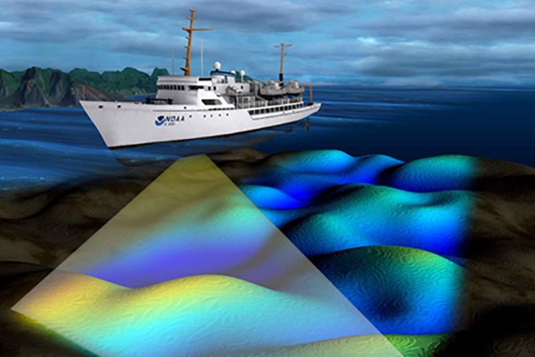 Illustration of NOAA ship mapping the seafloor.