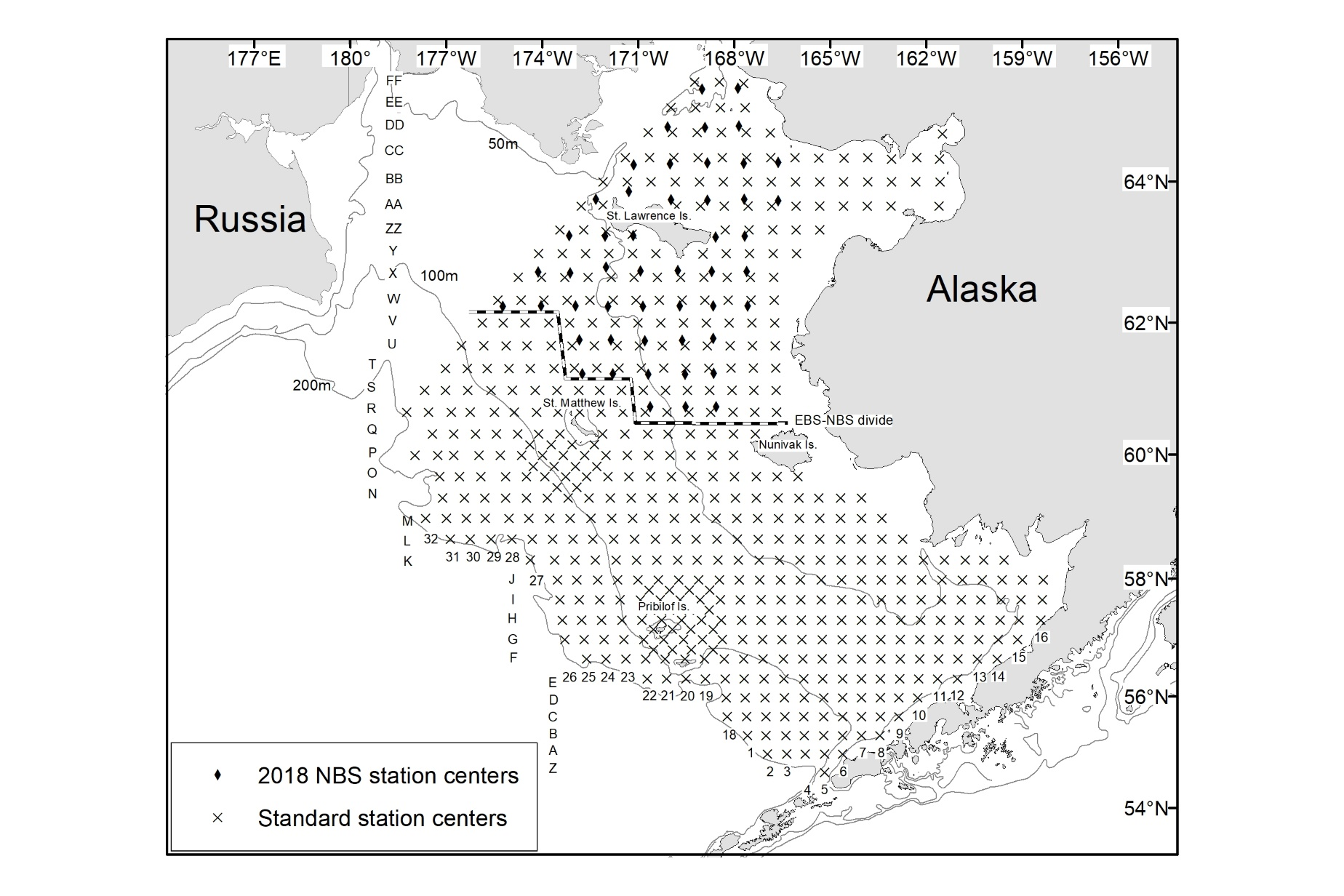 Map showing standard northern and eastern Bering Sea NOAA Fisheries survey areas and sampling stations.