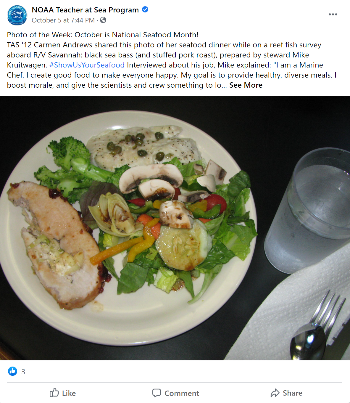 Facebook post from the Teacher and Sea program with a photo of a black sea bass dish