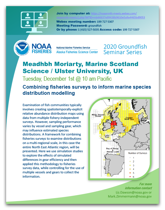 Alaska Fisheries Science Center, 2020 Groundfish Seminar, Meadhbh Moriarty poster.