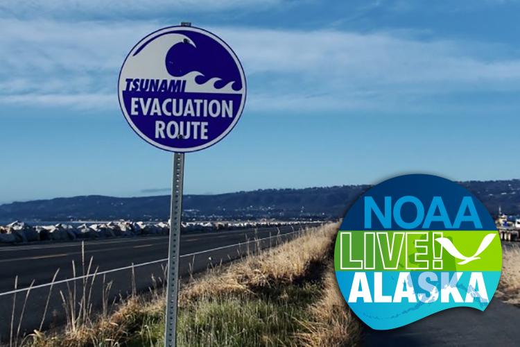 tsunami warning sign by roadside in Homer, Alaska with NOAA Live! Alaska logo in lower corner