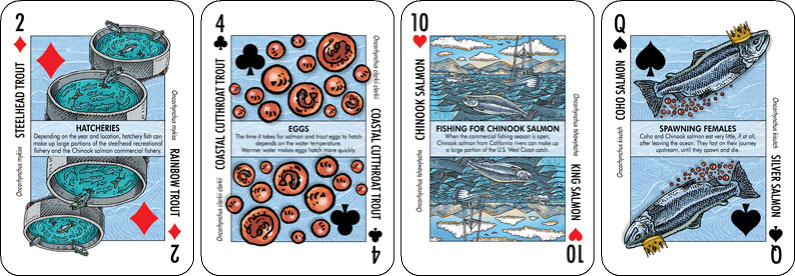 Examples of California Salmonscape playing cards