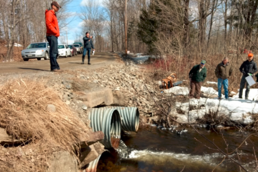 Restoration experts overlook former impassable culverts that are now removed to allow fish to pass.