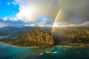 A rainbow over the coast of Kualoa Ranch.