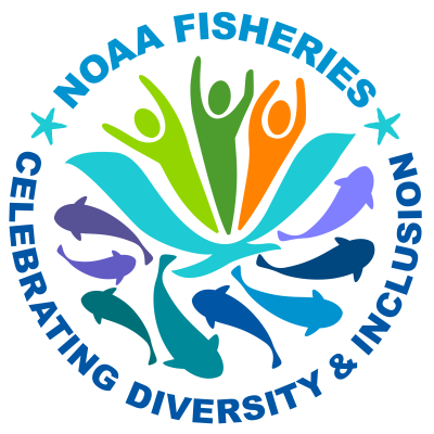 """A graphic icon that says """"NOAA Fisheries: Celebrating Diversity & Inclusion"""" and shows people in many colors above and fish and marine mammals below"""