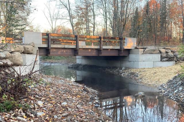 A new bridge over a river.