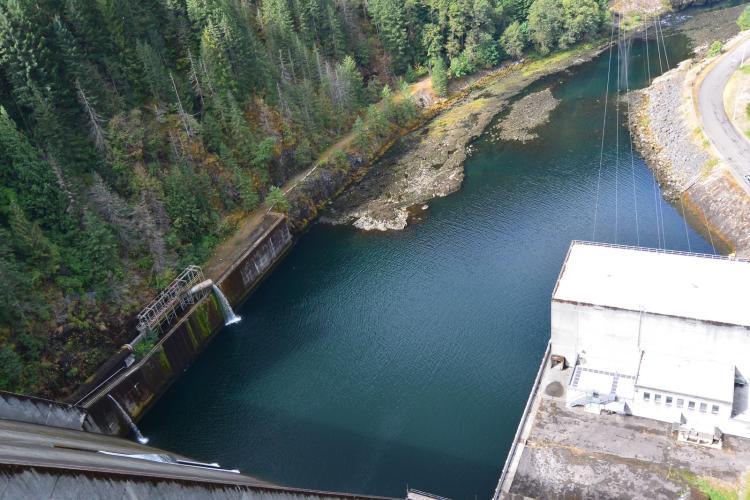 Aerial view of Detroit Dam