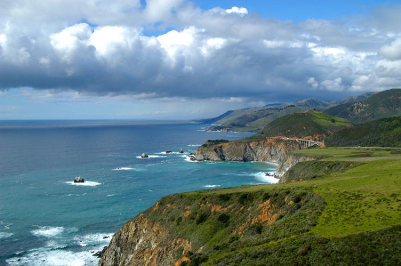 Big Sur coastline looking north to Bixby Canyon Bridge. California, Monterey Bay National Marine Sanctuary.