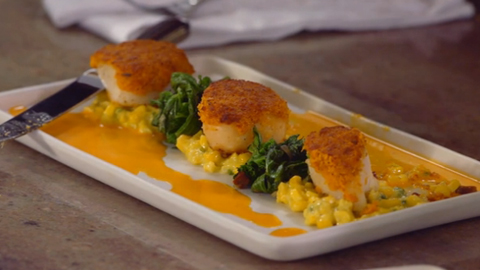 Chorizo-Crusted Scallops with Jalapeno Creamed Corn
