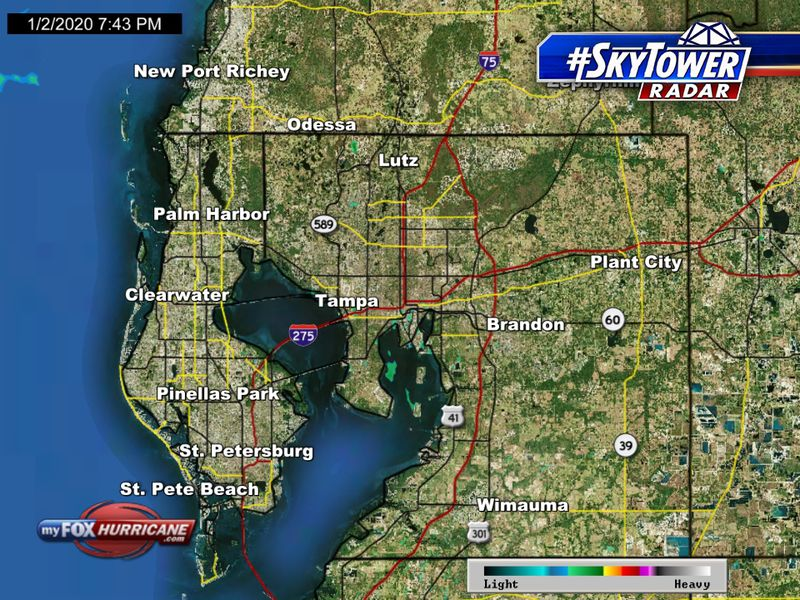 SkyTower radar view of Hillsborough and Pinellas counties