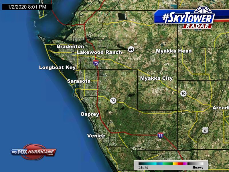 Florida Weather Map In Motion.Skytower Radar View Of Manatee And Sarasota Counties In Florida