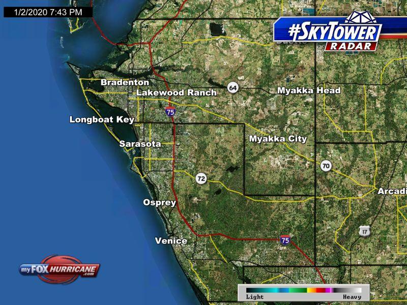 SkyTower radar view of Manatee and Sarasota counties in