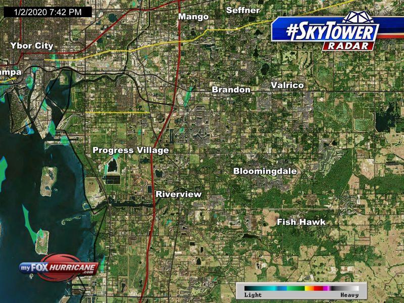 SkyTower radar view of the Brandon, FL area | FOX 13 Tampa Bay
