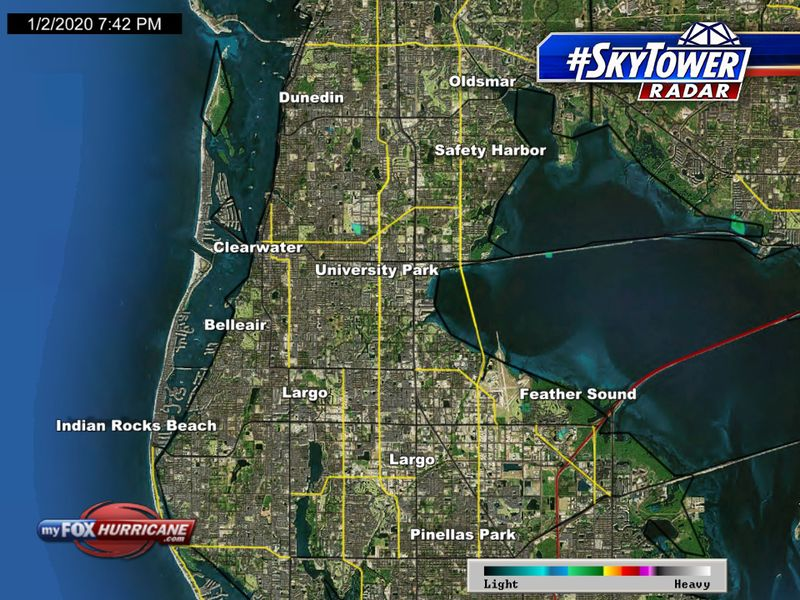 SkyTower radar view of the Clearwater Beach, FL area | FOX 13 Tampa on