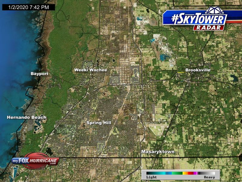 SkyTower radar view of the Spring Hill, FL area | FOX 13 Tampa Bay