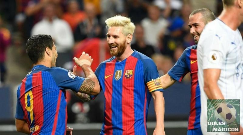 Messi y Suarez celebran su gol al Leicester City