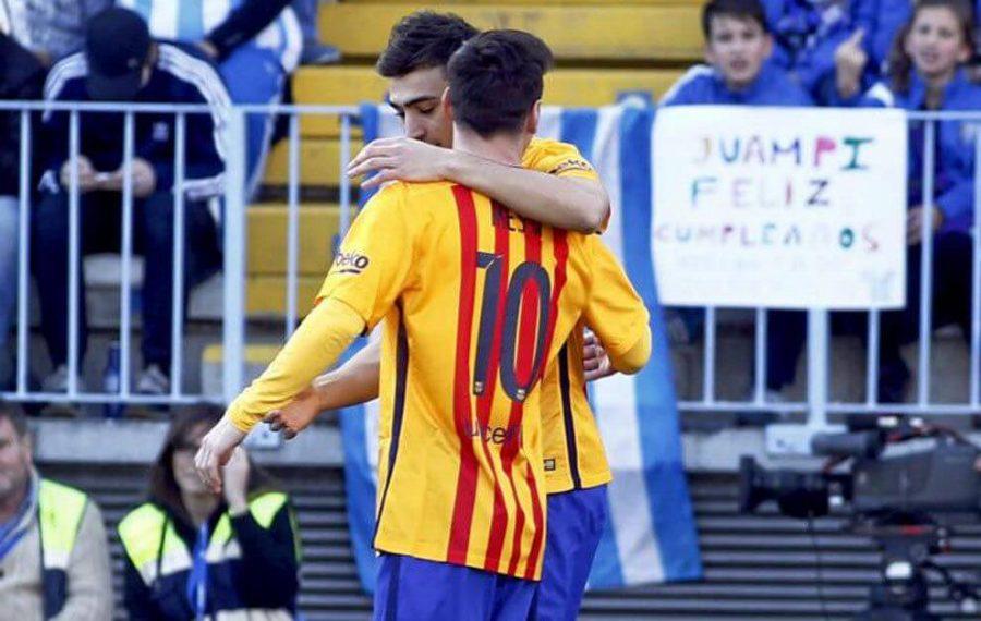 Messi y Munir celebran sus goles en La Rosaleda
