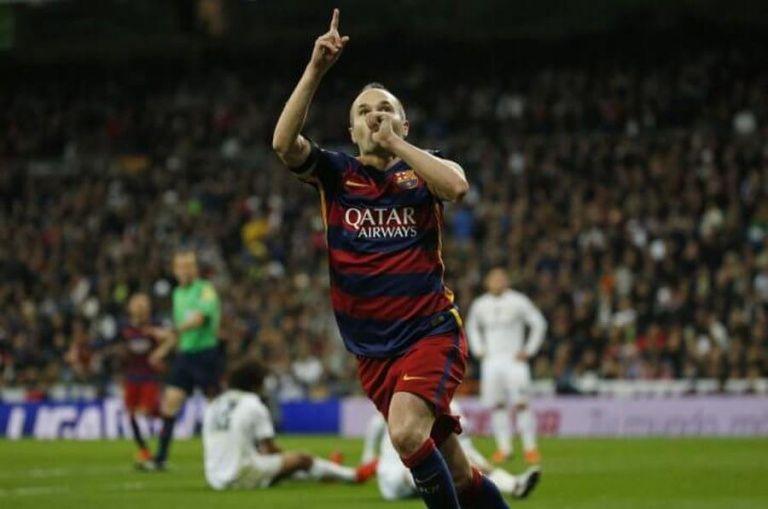 Iniesta celebra su gol al Real Madrid