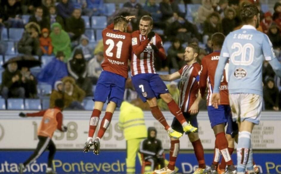 Carrasco y Griezmann, los goleadores del partido