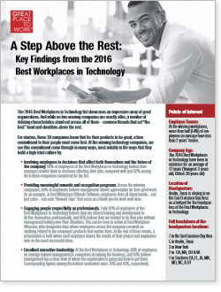 2016 Key Findings from the Best Workplaces in Technology list
