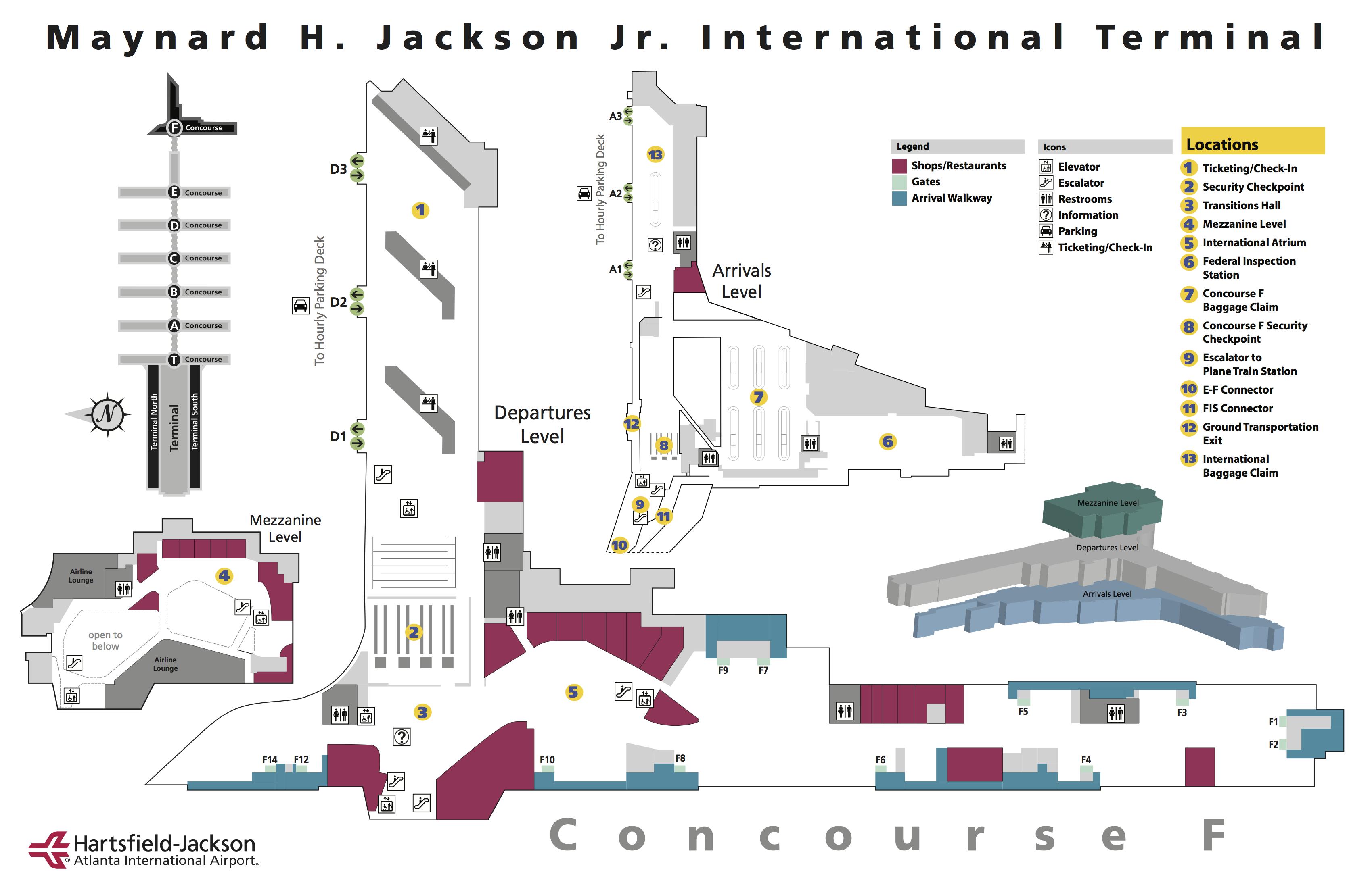 Atlanta Hartsfield Jackson Airport Terminal Map