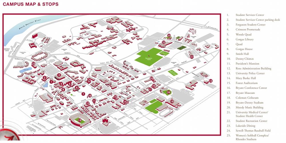 University Of Alabama Map Images