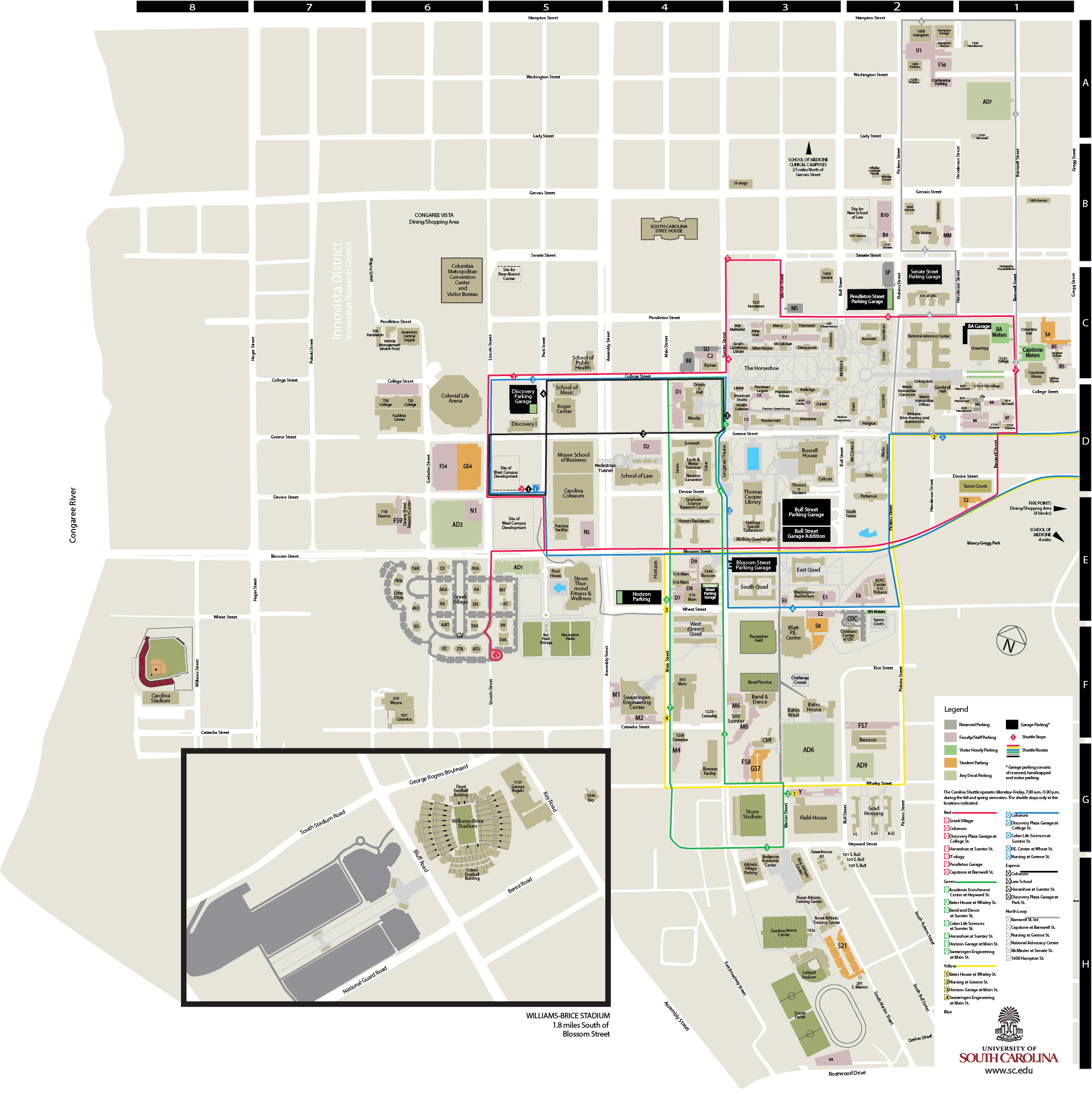 University of South Carolina Campus Map South Carolina Campus Map'