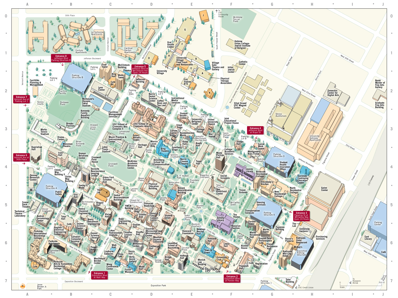 Printable Map Of Usc Campus