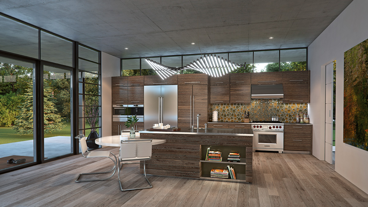 Contemporary Kitchen with Wolf Ranges and Wolf Convection Steam Oven