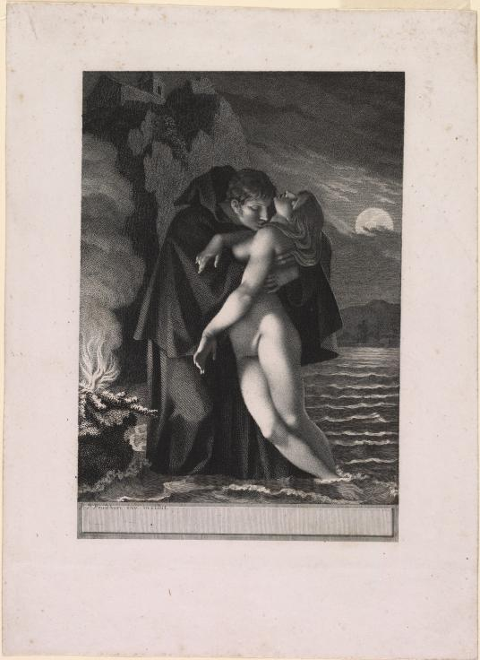In this black and white print, a young man wearing a large, hooded cloak holds a nude woman in his arms. The woman's eyes are closed. He bends his head down to kiss her lower neck. He has short, dark-colored hair and she has long, blond hair. They stand on the shore of a body of water, which extends behind them. A moon hangs low in the sky beyond the horizon line on the right, and it is partially covered with clouds. To the left of the couple, a fire burns brightly and throws billowing smoke into the upper-left corner of the image. A stone building is perched on the mountain overlooking the water below.