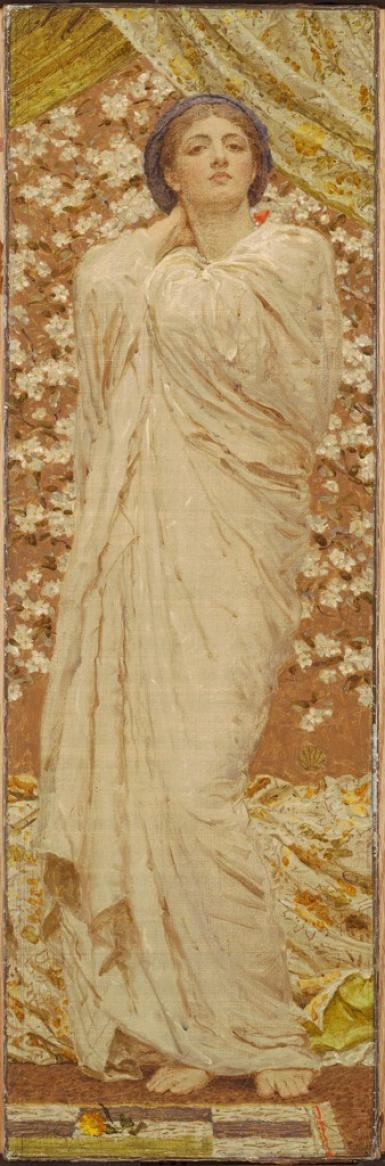 In this vertically aligned painting, a woman stands in the middle of the picture plane. She is shrouded in a cream-colored floor-length robe with numerous folds and is barefoot. Her right arm is reaching behind her neck and the other is hidden within her gown. She holds her head high and stares directly at the viewer. White blossoms surround her on either side. Above her are two golden curtains. There is a bed with wrinkled sheets behind her toward the bottom of the painting. The background is a dark, golden color.