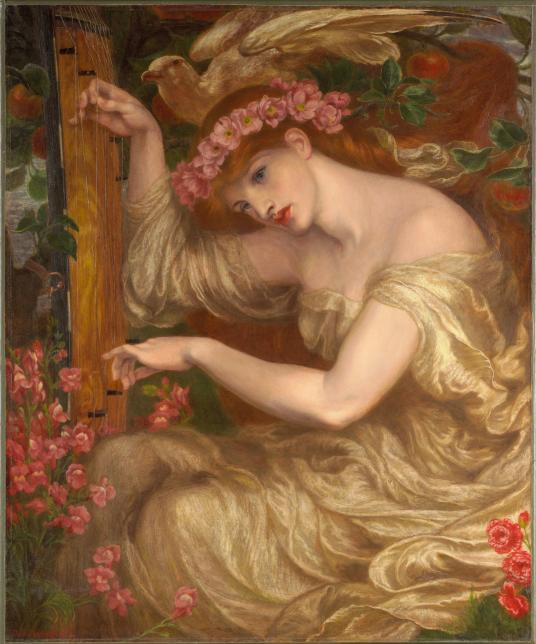 This painting shows a pale woman with auburn hair wearing a crown of pink flowers. She bends toward the string instrument she is playing with a vacant look in her eyes. Her flowing, soft yellow dress exposes her shoulders as her bare arm reaches across the center of the painting. She is surrounded by fruits and flowers in the background, and a large dove sits just above her head with wings bent as if about to take flight.