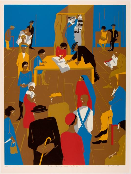This screenprint shows a group of brown-skinned figures gathered in a large room with a wooden floor and blue walls. The figures have few facial features. The figures' clothes are either black, red, yellow, blue, or beige or a combination of those colors. In the foreground, men and women wait in line. In the center of the composition, a woman sitting at a large yellow table rests her hands on a large white open book; a man wearing a black suit points to one of the pages. In the background, a man in a blue suit stands in a voting booth and is pulling the lever.