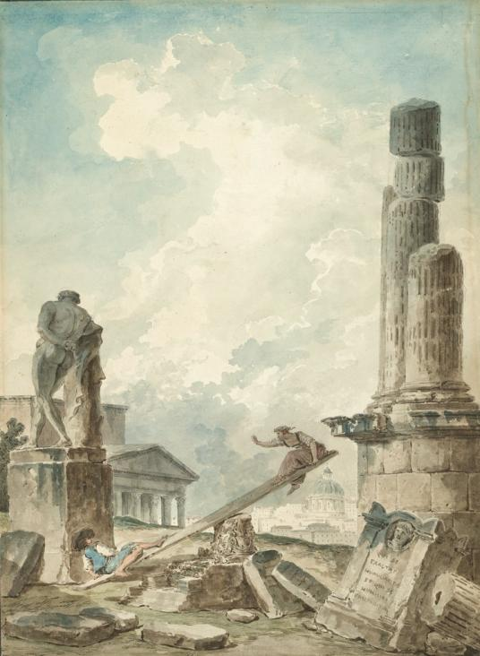 A man and a woman use a wooden plank on an upside-down capital as a seesaw. They are surrounded by ancient ruins. St. Peter's Basilica and modern Rome appear in the background.