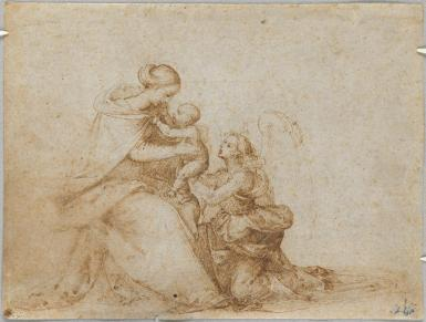This sketch in fine lines shows a robed woman seated on a chair holding a baby. The woman's robes have several folds, and her hair is swept up in a bun. A female figure with a halo kneels beside her. The color of the drawing is a light brown. The figures are positioned toward the left side of the work.