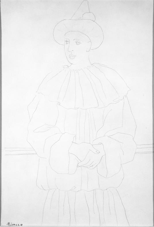 This drawing depicts a male figure with a pointed hat and an oversized suit with a large circular collar calmly folding his hands and leaning backward. He looks toward the left of the picture.