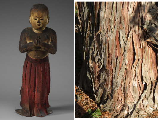 A photograph of a painted wooden sculpture of a young boy with hands folded in prayer set next to a photograph of tree bark.