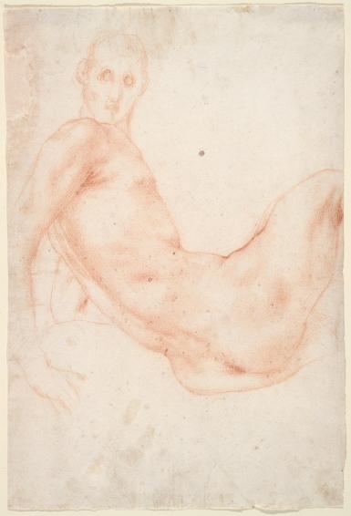 A red chalk drawing on white paper of a nude man reclining, with face and hands unfinished.