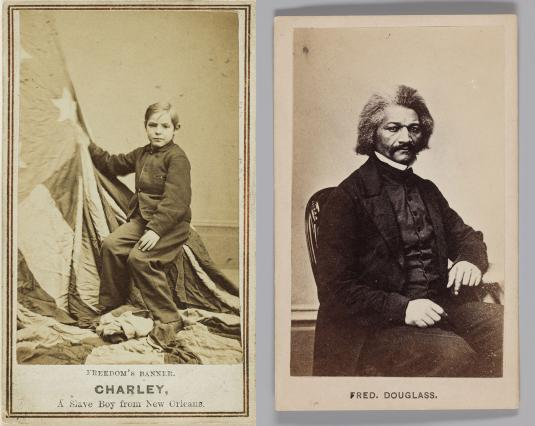 "There are two photographs side by side. The left image is sepia-colored and shows a young boy seated facing left. He is wearing dark pants and a buttoned-up jacket. His light-colored hair is parted to the right. He grasps a large flag, consisting of stars and stripes. The flag is draped over the boy's seat and spills out onto the floor in front of him. Below, the text reads ""Freedom's Banner. Charley, A Slave Boy from New Orleans."" The image on the right is a black and white photograph and shows an African American man seated in a chair facing right. He has a moustache and dark hair with a lighter stripe running through the middle. He is wearing dark pants, a shirt, and a jacket with a white high collar. His left arm rests on a small table; his right arm rests on his right leg. Below, the text reads ""Fred. Douglass."""