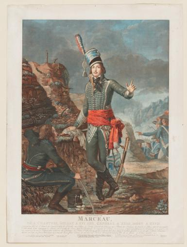 A color print portrays a full-length portrait of a soldier, posed near a battlefield.