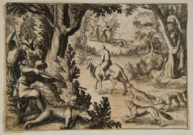 A man on horse drags a dead ram behind, while two wolves follow in pursuit.