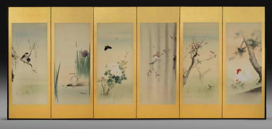 This photograph shows six vertical rectangular panels hinged together against a gray background. Each panel features a vertical rectangular painting showing different birds, flowers, and landscape elements placed on a gold background.