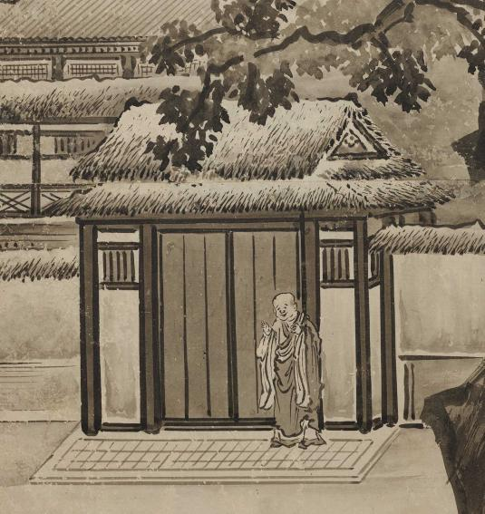 A robed, smiling man standing beneath a tree near the doorway of a wooden building, painted in various shades of ink.