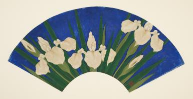 A painting on a fan mounted flat on cream-colored paper depicts white irises with green stems and leaves on a dark blue background.