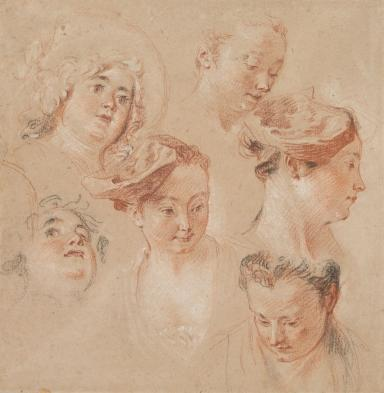 A chalk drawing depicts a figure study of six women's heads in a mostly light red palette, with some black and white.