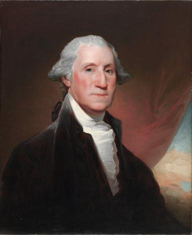This painting shows a head-and-shoulder portrait of George Washington.