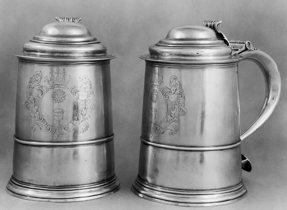 Joseph Kneeland, The John Vassal Tankard, c. 1729, Harvard Art Museums/Fogg Museum, Loan from Harvard University, Gift to Harvard College from John Vassal, Class of 1732, 1729.