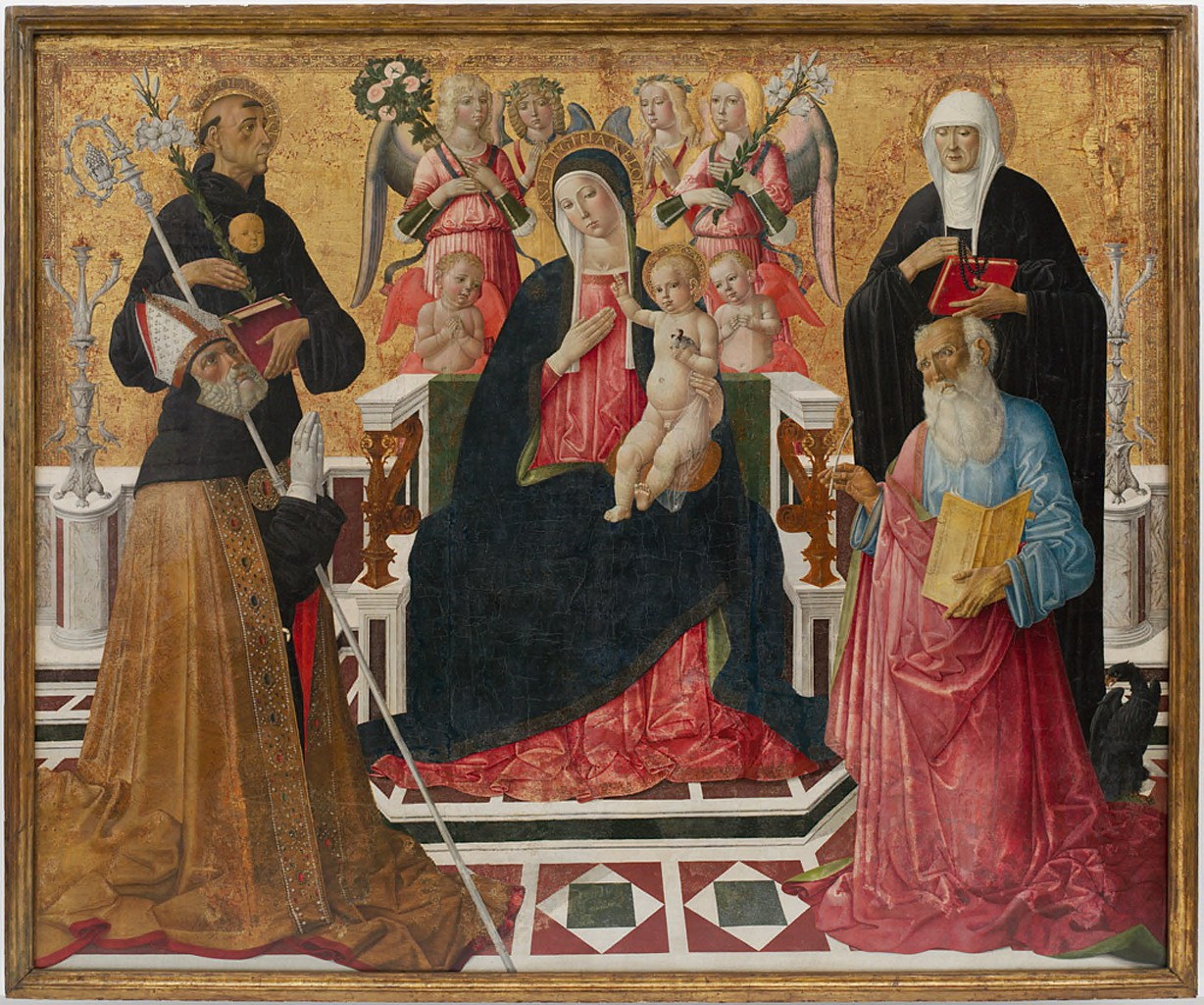 Color painting of Madonna and child and Saints Nicholas, Augustine, and John the Evangelist.
